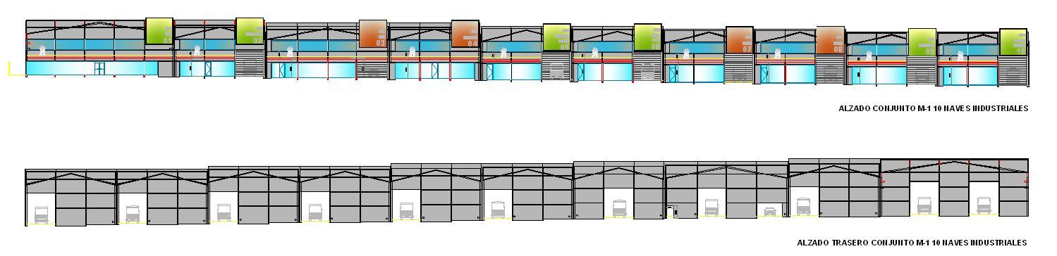 Alzado planos Naves industriales en La Estrella