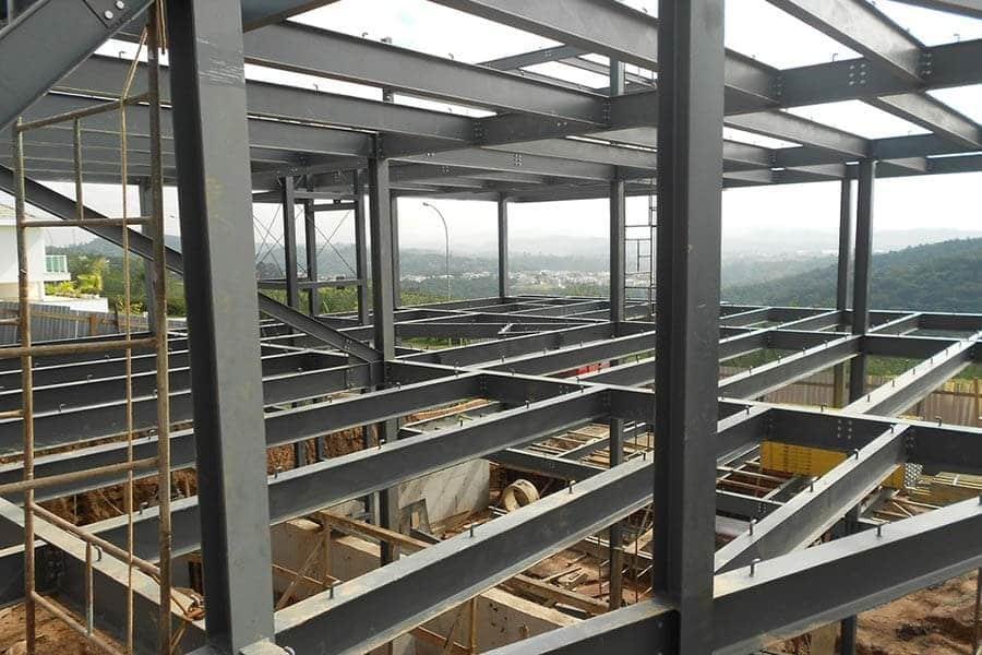 Estructura de vigas de acero construcción de edificio